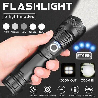 High Powered 900000Lumens XHP50 Zoom Flashlight LED Rechargeable Torch Headlamp