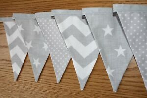 Fait-main-gris-et-blanc-Nursery-Bunting-Star-Chevron-Tissu-Banniere-nouveau-bebe