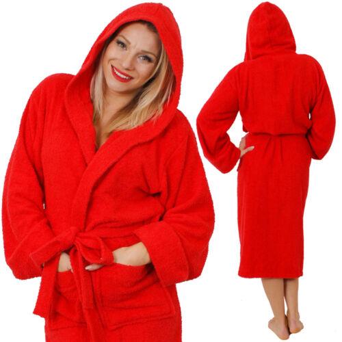 LADIES HOODED BATHROBE 100/% COTTON PRESENT WOMENS GIFT DRESSING GOWN ROBE M-5XL