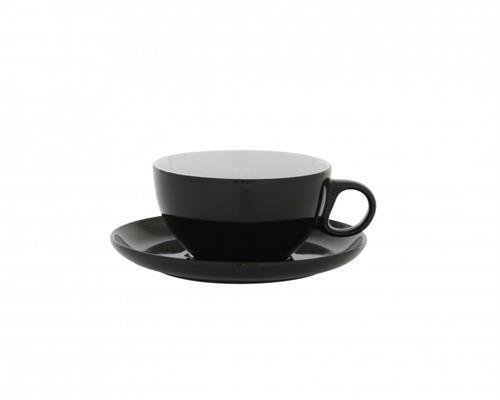 Axentia Cappuccino-Tasse 420 ml mit Untersetzer in schwarz 122420