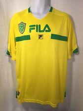 Brasil Fila T-Shirt Jersey Yellow Green #9 Soccer Futbol Men's XL VTG Big Logo