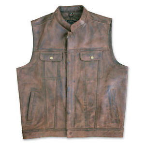 Vest motorcycle men's straight cowhide leather brown small Crank & Stroker HB