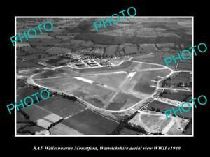 OLD-POSTCARD-SIZE-MILITARY-PHOTO-AERIAL-VIEW-RAF-WELLESBOURNE-WARWICKSHIRE-1940
