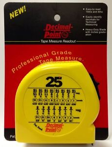 Image Is Loading Tape Measure Readout With Decimal Chart Learn How