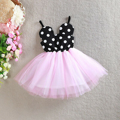 Baby Girl's Dress Minnie Mouse Tutu Skirt Kids Party Costume Clothes Summer 1-5Y