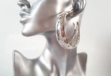 STUNNING! Big & wide silver tone filigree patterned large  hoop earrings *NEW