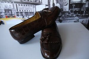 Luxury-Magnanni-Crocodile-Leather-Kiltie-Tassel-Loafers-Brown-Men-039-s-US-10-M