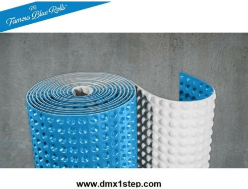 3.67 ft Blue Space-Age Contoured HDPE Foam Underlayment Antimicrobial x 27 ft