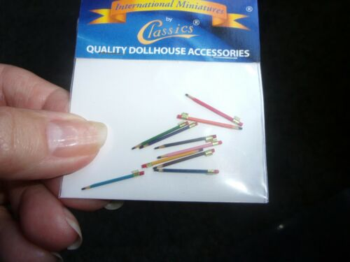 TINY COLORED PENCILS 10 PACK DOLL HOUSE MINIATURE