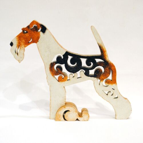 MDF Dog fox terrier tricolor figurine statuette made of wood statue