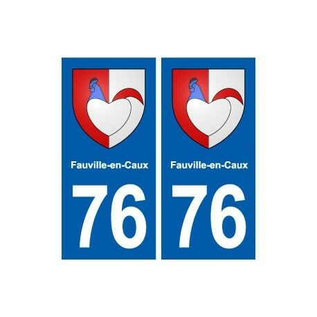 76 Fauville-en-Caux blason autocollant plaque stickers ville -  Angles : droits