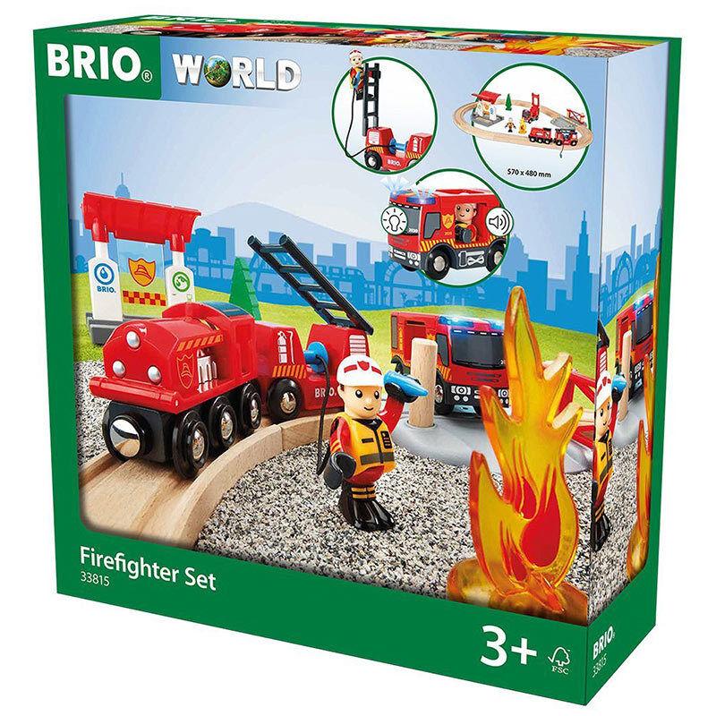 BRIO World 33815 Rescue Fire Fighter Set - Wooden Train Set