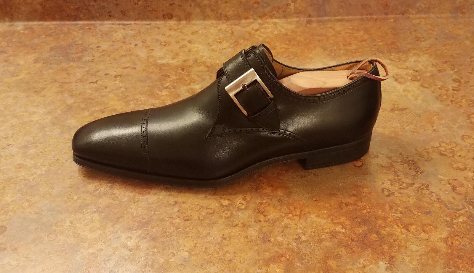 NOUVEAU  Magnanni  Carmelo 'SINGLE Monk Strap Mocassin Chaussures Noir Homme 8 M fabricants Standard prix de détail  385