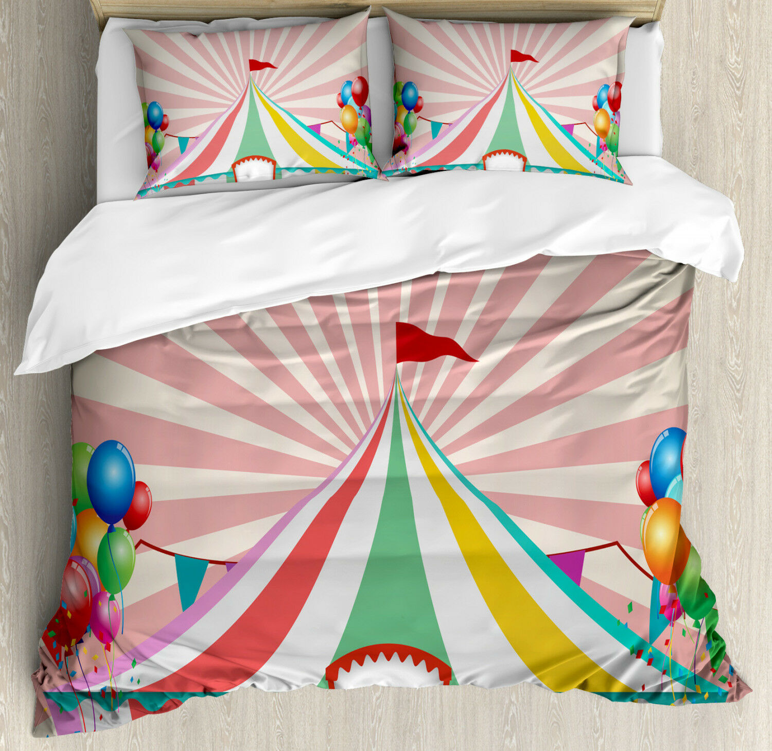 colorful Duvet Cover Set with Pillow Shams Vintage Circus Balloons Print