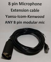 Microphone Extension Cable 8 Pin Rj45 Modular Yaesu Icom Kenwood Black 15 Feet