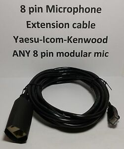 MICROPHONE EXTENSION CABLE 8 PIN RJ45 MODULAR YAESU ICOM KENWOOD BLACK 15 feet