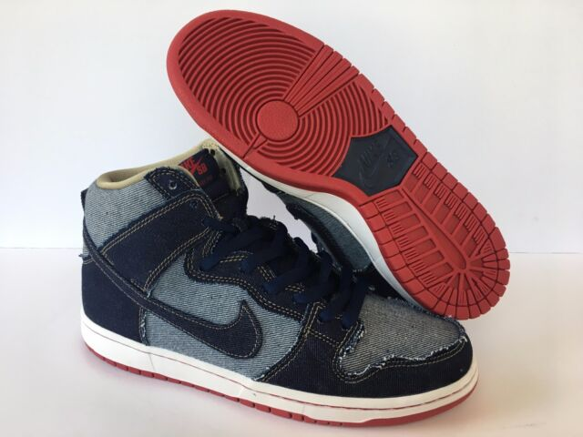 huge selection of 8fd4b 3c855 Nike SB Dunk High Denim Reese Forbes Navy Red White 881758-441 Sz 6