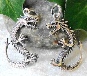 Drache-Anhaenger-925-Silber-Drachen-Vollfigur-3D-Kelten-Wikinger-dragon