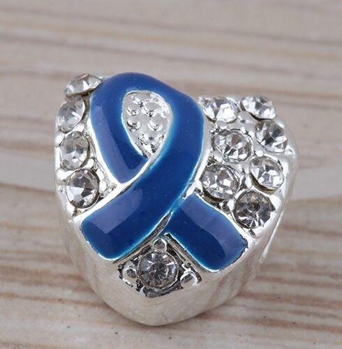 Purple Awareness Ribbon Antiqued Silver Rhinestone Heart 4.5mm Hole Charm Bead