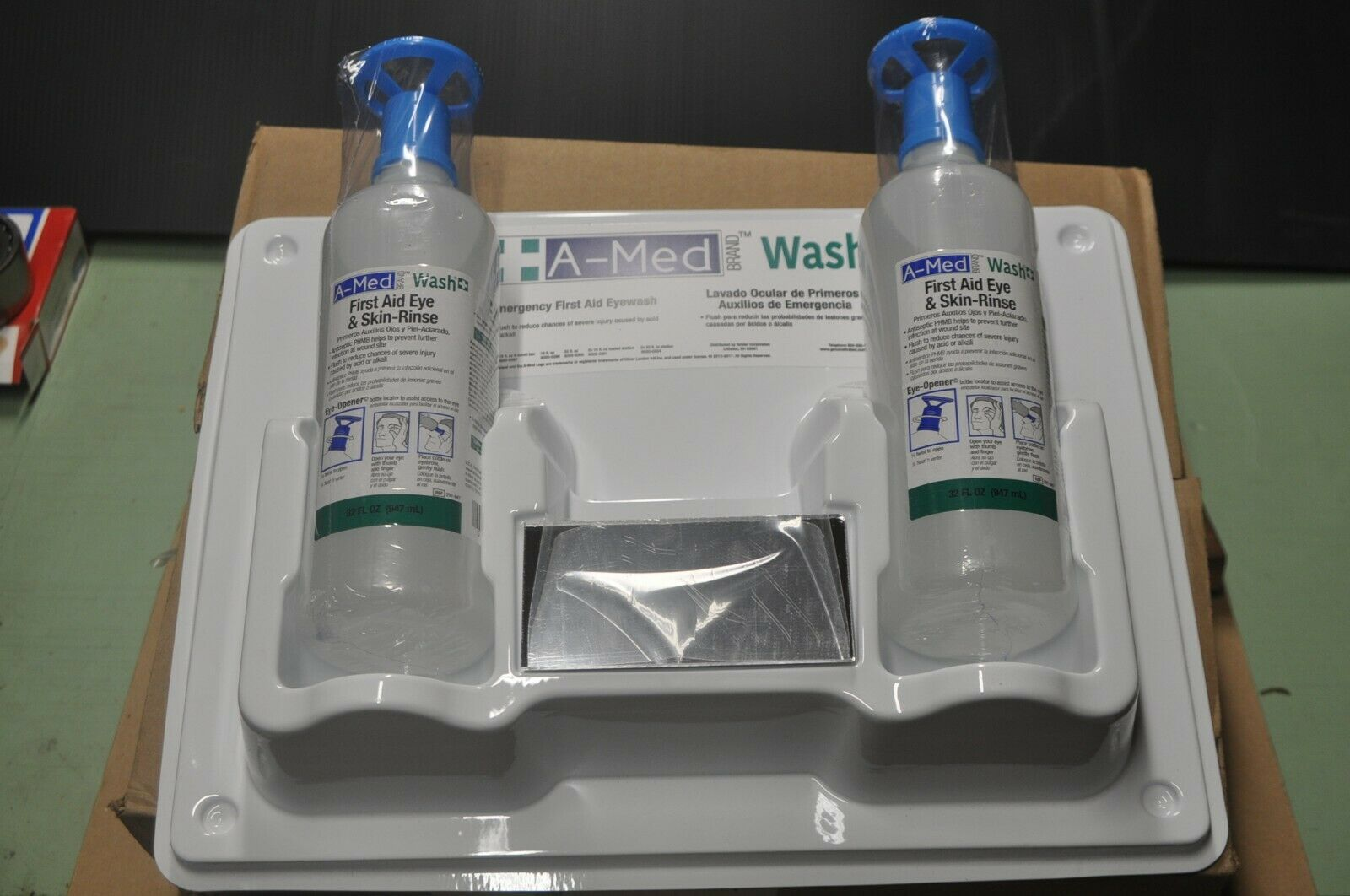 A-Med Eye and Skin Wash Double Bottle Station w  Eye -Opener, 5020-0304,Two 32