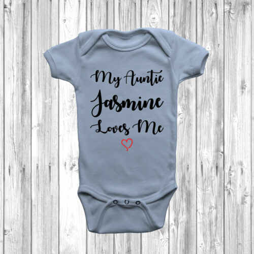 Personnalisé My Auntie loves me Baby Grow Body Costume Gilet Mignon Cadeau