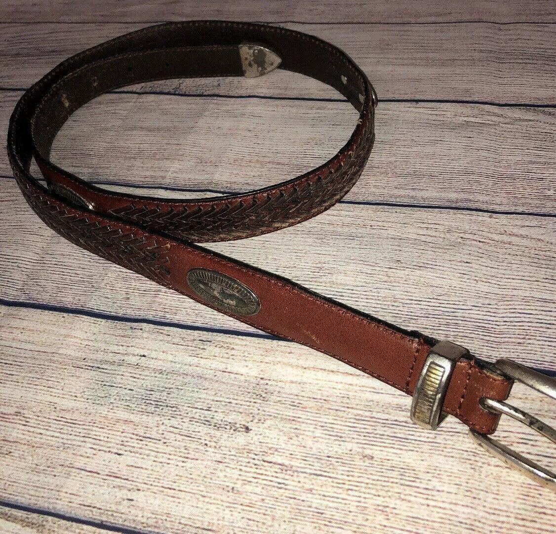 Vintage Fossil Brown Leather Concho Belt Southwest Women's Size M