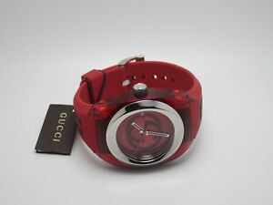 84569cc8a98 NEW GUCCI SYNC XXL RED DIAL RED RUBBER STRAP MEN S WATCH YA137103