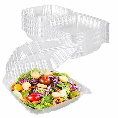 Stock Your Home Plastic 8 x 8 Inch Clamshell Takeout Tray 25 Count