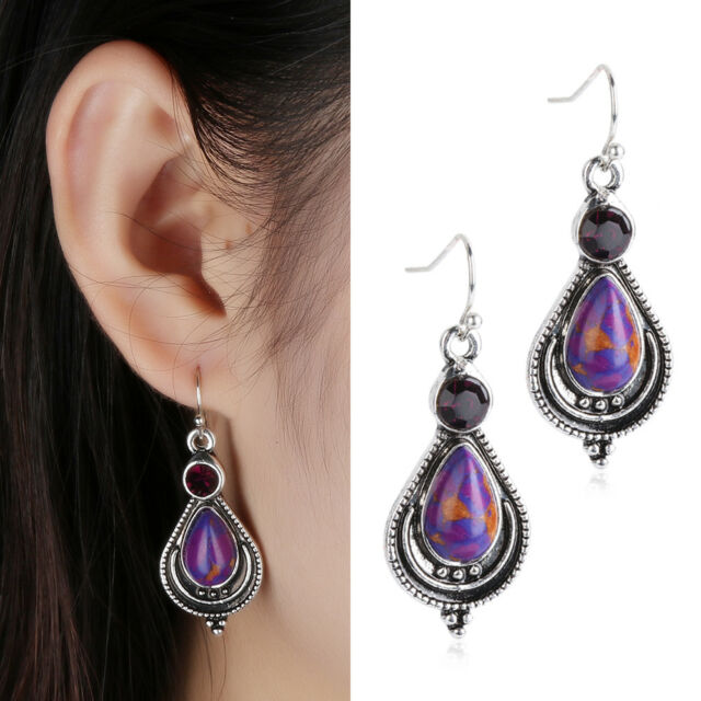 A Purple Copper Turquoise Hook Earrings 925 Silver Dangle Earrings Charm Jewelry