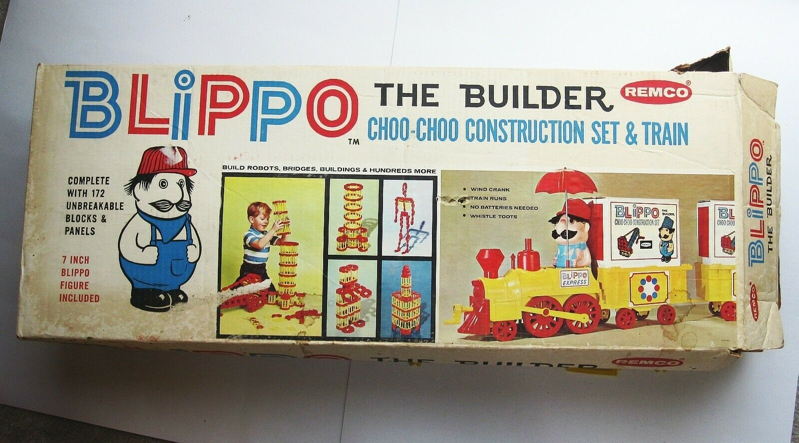 1965 Remco Blippo the Builder Choo Choo Construction Big Toy Train Set Vintage
