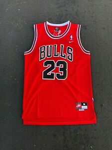 new style 49def 2c657 Details about Michael Jordan #23 Red Chicago Bulls Red/White/Black Jersey  Men NWT Brand New