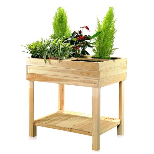 Hochbeet Holz Pflanztisch Gartenbeet Blumenständer Pflanzkasten Gärtnertisch