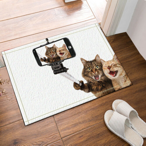 Happy Cat Holding A Selfie Stick Bathroom Fabric Shower Curtain Set 71X71 Inches