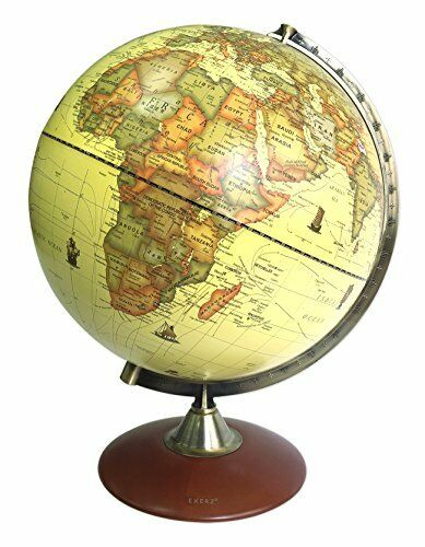 X-Large Dia 30 CM Antique Globe With A Wood Base Exerz