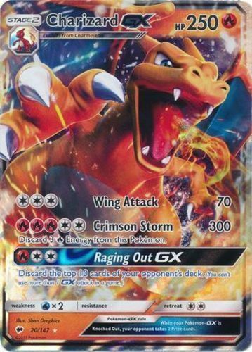 CHARIZARD GX 20//147 Burning Shadows Holo Ultra Rare NM Pokemon Card