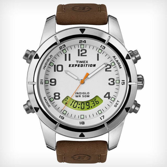 "Timex T49828, Men's ""Expedition"" Leather Watch, Analog/Digital Combo, T498289J"