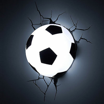 3D Soccer Ball Deco Wall LED Night Light Crack Sticker Kids/Sports Room Decor