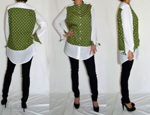 Unique-white-green-printed-cotton-comfortable-shirt-top-blouse-Size-14