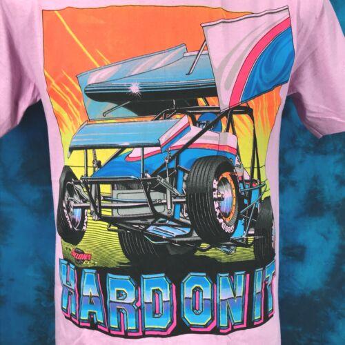 vtg 80s SPRINT CAR RACING BEER BIKINI T-Shirt M hot rod cartoon world of outlaws