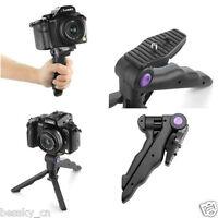 New 2in1 Hand Grip Folding Tripod Stand Holder for Digital Camera Mini DV Black