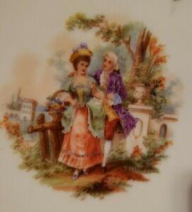 Vintage Dresden Floral Victorian Porcelain Gilded Lattice Dish Bowl Reticulated