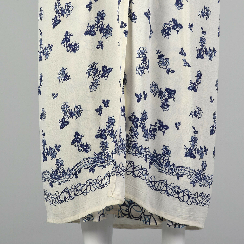 XS 1990s Blue White Maxi Skirt Bohemian Long Laye… - image 8