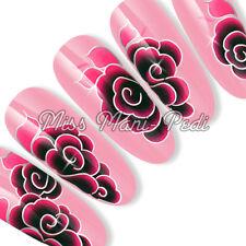 Nail Art Uñas Largas Agua calcomanías transferencias Pegatina Rosa Negro Rosas sl029 Plata