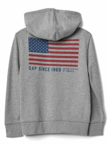 New Gap Kids Boys USA Flag Graphic 2 Sides Hoodie Sweatshirt NWT 6 7 8 14 year
