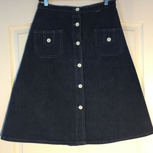 Peekaboo A-Line Vintage Inspired Denim Button Fro… - image 1