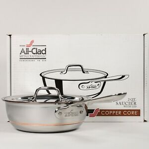 All-Clad-Copper-Core-2-Qt-Saucier-with-Lid-5-Ply-Stainless-Steel-6212SS-Saucepan