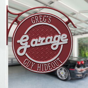 Garage-Plaque-Two-Line-Personalized-Double-Sided-Hanging-sign-w-bracket