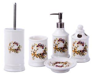 Details Zu Vintage Badset Badezimmer Zubehor Set Seifenspender Wc Burste Schmetterlinge