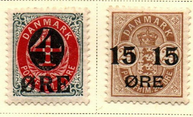 Denmark Sc 55-6 1904 4 & 15 ore overprints stamp set mint