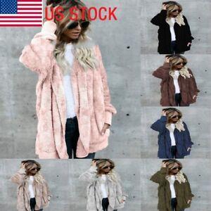 Women-039-s-Hooded-Pullover-Coat-Teddy-Plush-Coat-Casual-Fleece-Fur-Jacket-Oversize